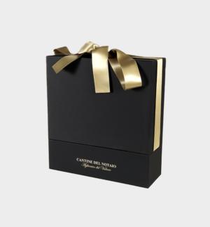 Confezione in cartone con fiocco Oro x 3 bottiglie da 75cl